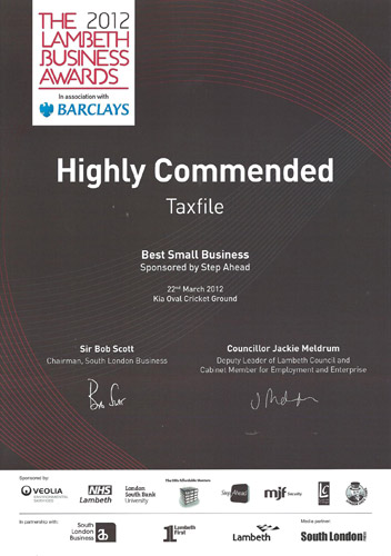 Highly Commended in the 'Best Small Business' category at the Lambeth Business Awards 2012