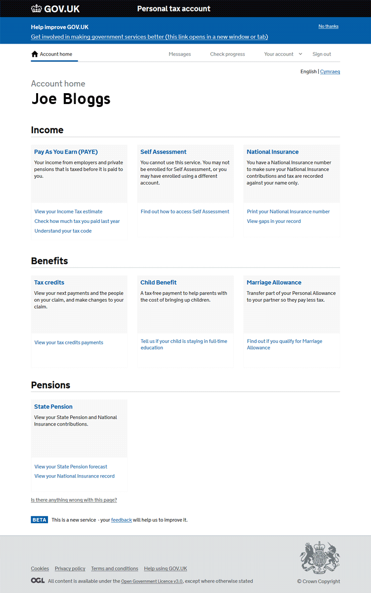 Personal Tax Account home page (Making Tax Digital)