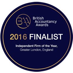 Finalist in the British Accountancy Awards - 'Independent Firm of the Year, Greater London' 2016