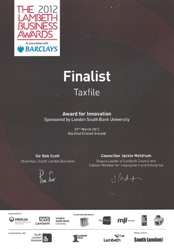Finalist in the 'The Award For Innovation' category at the Lambeth Business Awards 2012