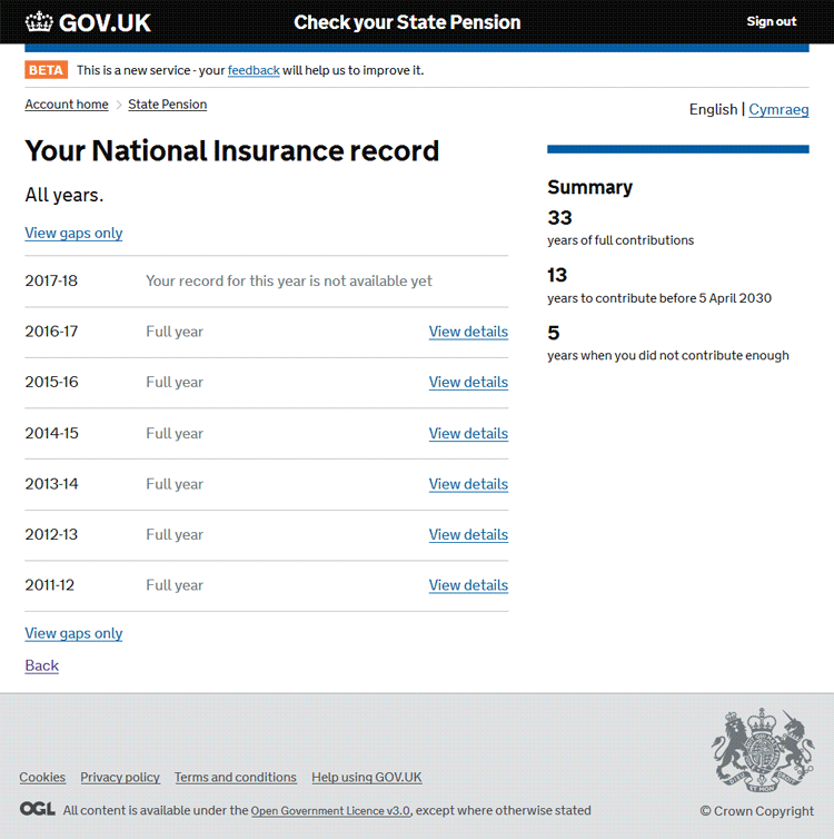 Personal Tax Account (PTA) National Insurance record