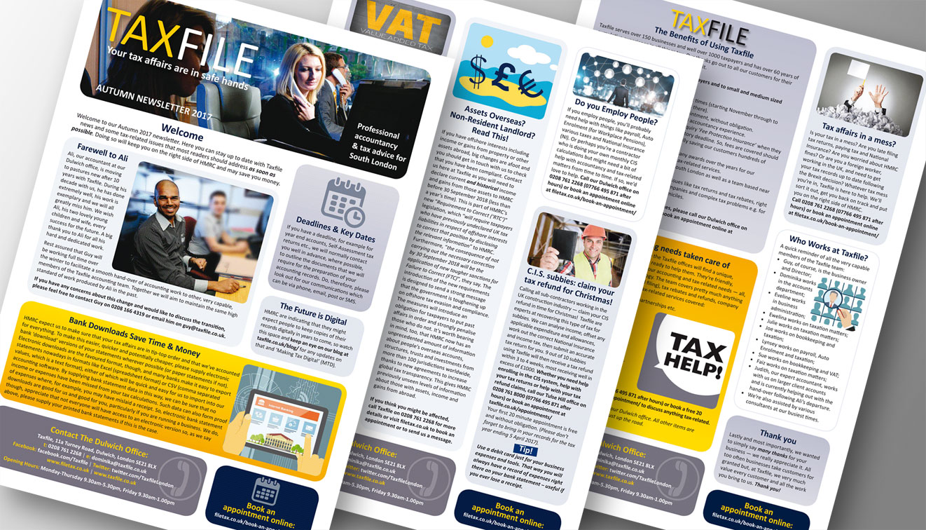 Taxfile's Autumn 2017 newsletter for limited company clients