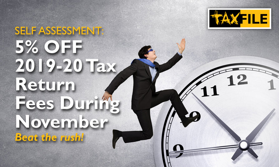 Act NOW & get 5% Off 2019-20 Self-Assessment Tax Return Fees