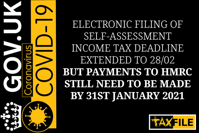 Self-Assessment tax return deadline extendedto February but tax needs to be paid by 31 January